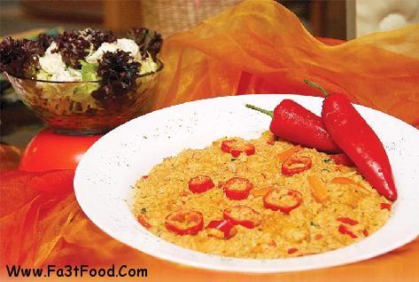ریسوتو با سس گوجه فرنگی و فیله مرغ