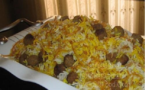 هویج پلو با گوشت قلقلی