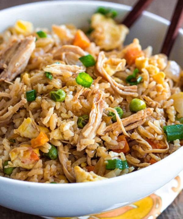 مرغ سرخ شده با برنج