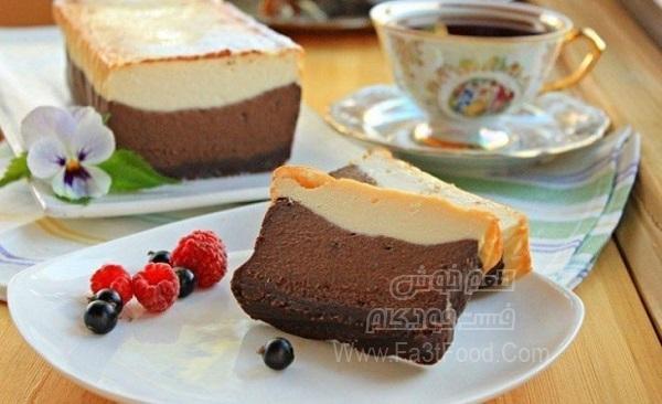 چیز کیک قهوه و شکلات