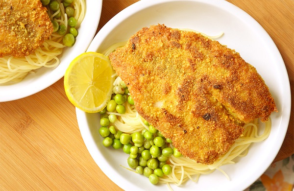 ماهی پارمسان و اسپاگتی لیمو
