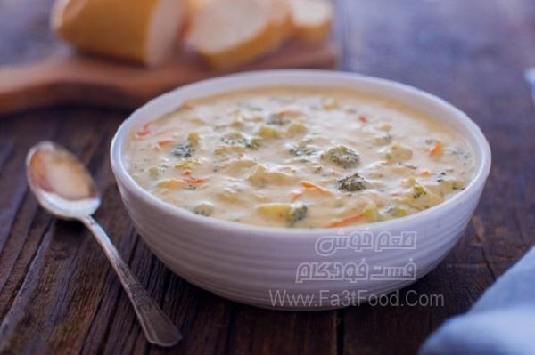 سوپ پنیر و کلم بروکلی