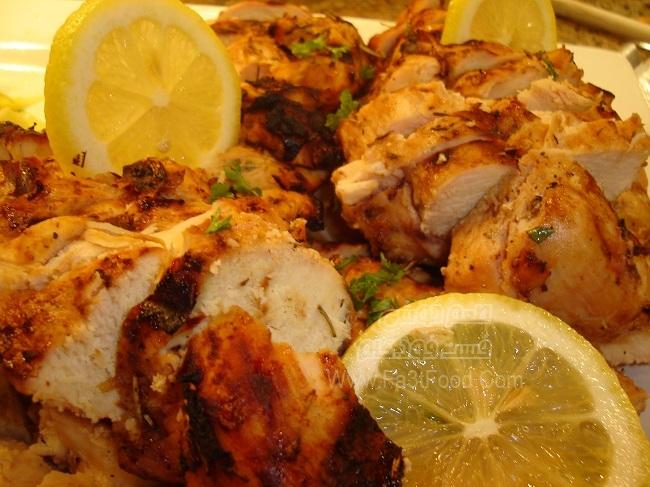 مرغ کبابی با لیمو و سیر