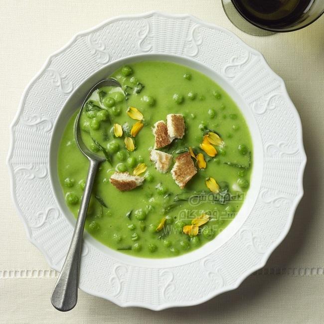 سوپ نخود فرنگی و سبزیجات بهاری