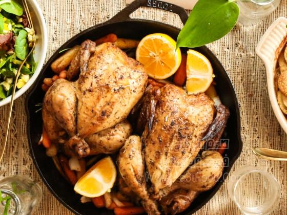 مرغ کبابی با سیر و لیمو